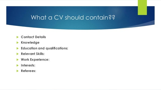 What A Resume Should Contain preparation What A Cv Should Contain