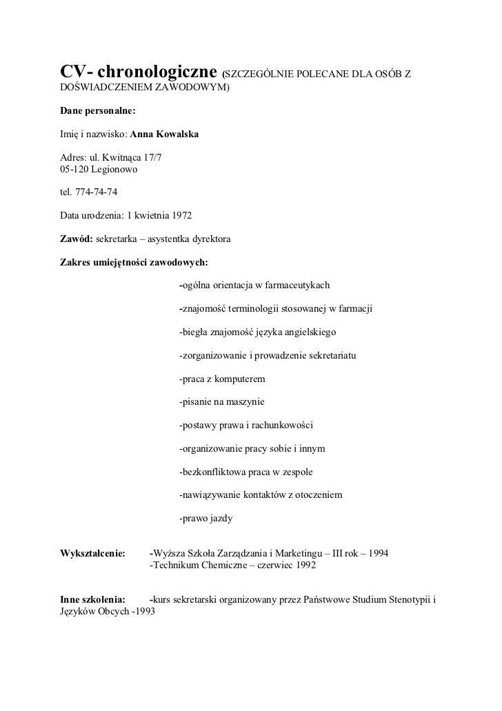 Cv Doświadczenie Zawodowe Wz 243 R