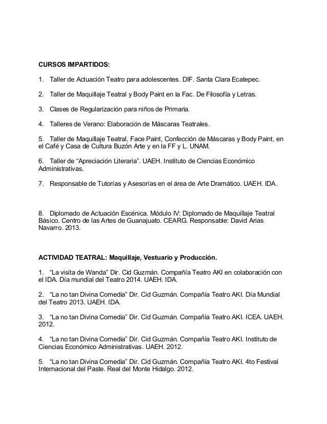 Excelente Ejemplos De Currículums De Actuación Inspiración ...