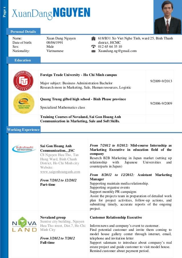 Extrem Dang Nguyen - CV for Marketing Assistant HE86