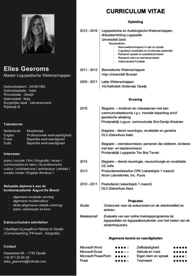 curriculum vitae logopedist