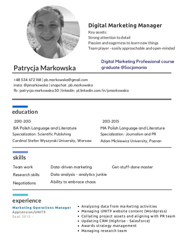 CV: experience, skills and expertise