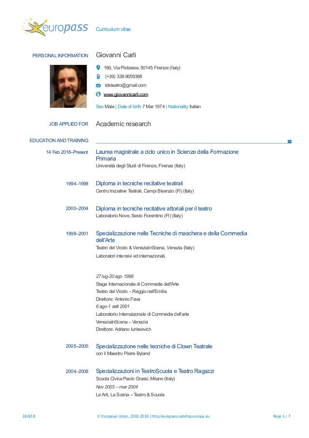Curriculum vitae PERSONAL INFORMATION Giovanni Carli 166, Via Pistoiese, 50145 Firenze (Italy) (+39) 338 9659388 tdsteatro...
