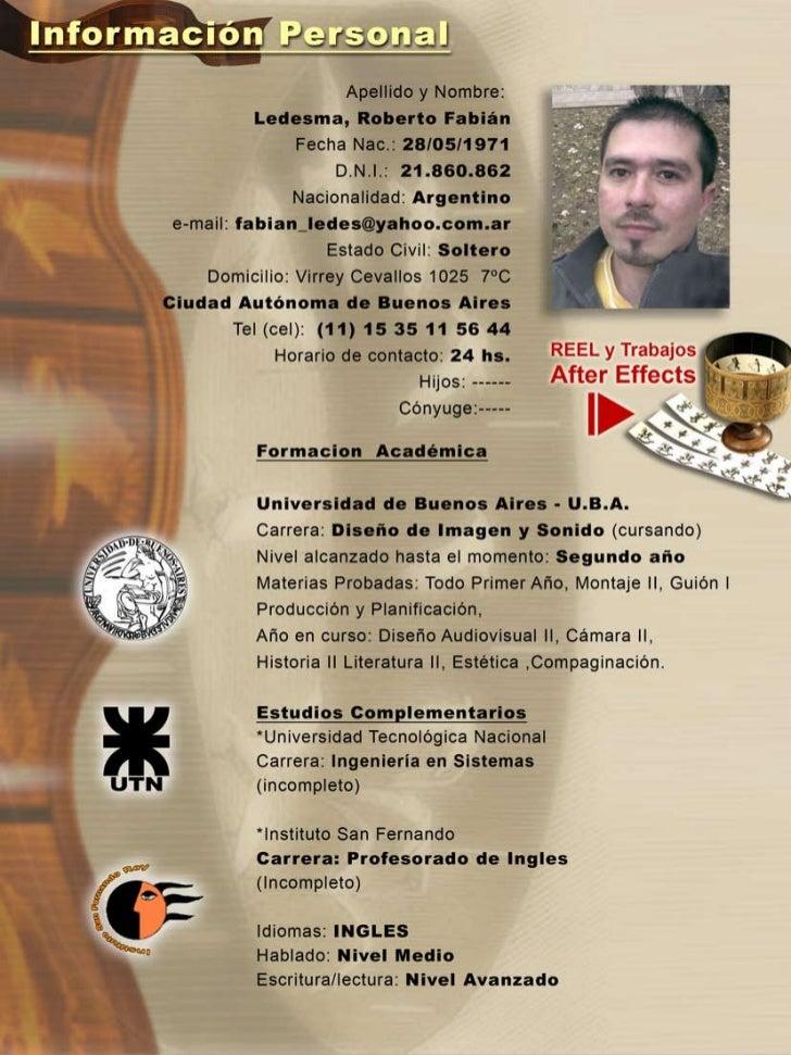 Cv ARTE Fabian Ledesma 2k11