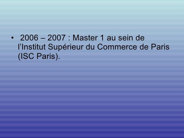 Cv formation for Chambre de commerce internationale de paris