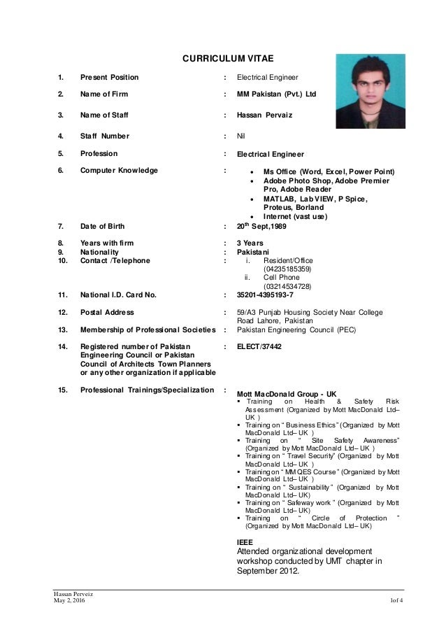 Cv Hassan Pervaiz For Electrical Engineer 2015