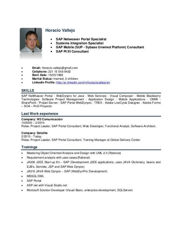 Horacio Vallejo                         SAP Netweaver Portal Specialist                         Systems Integration Spec...