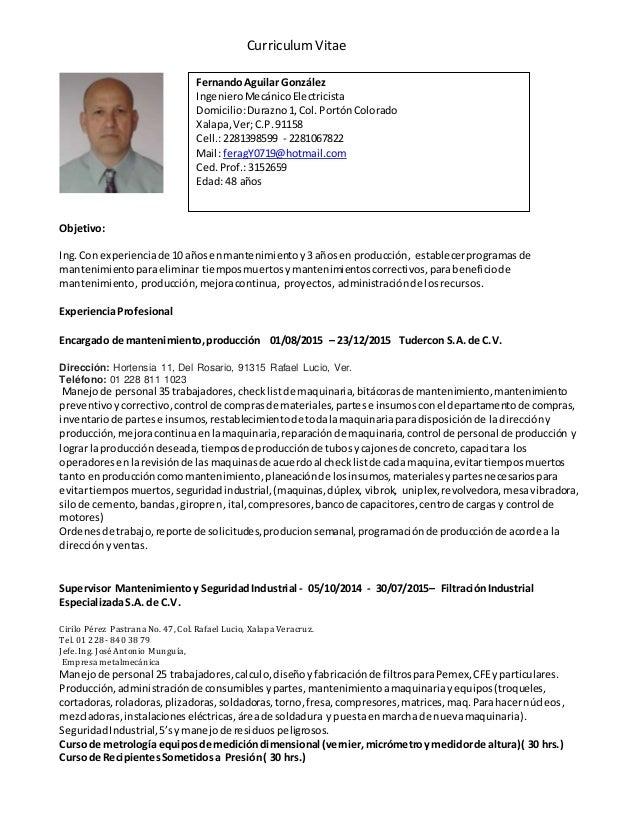 C.v. ing. mecanico electricista