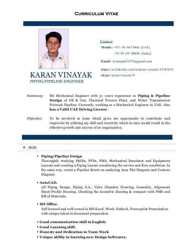 CV of Karan Vinayak - piping design engineer