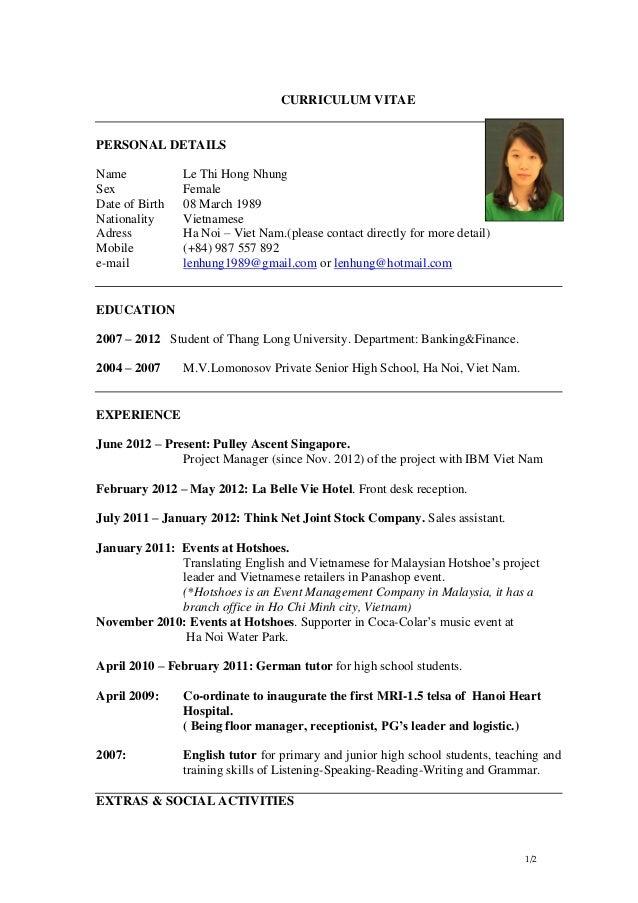 Cv Le Thi Hong Nhung As Of Jan 2013 Online