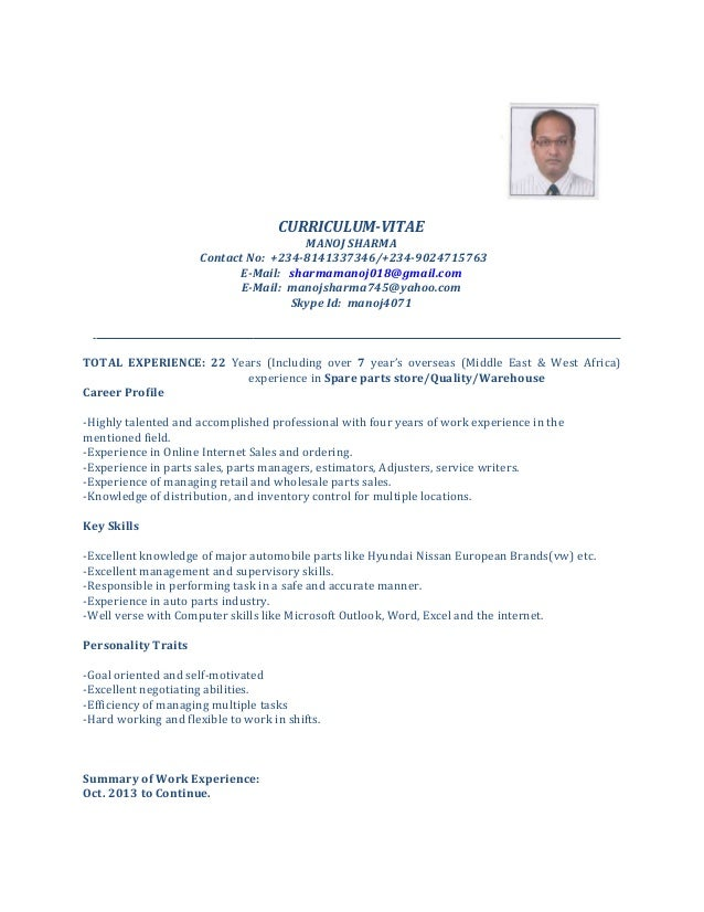 cv for spare parts manager curriculum vitae manoj sharma contact no 234 8141337346234 - Parts Manager Resume