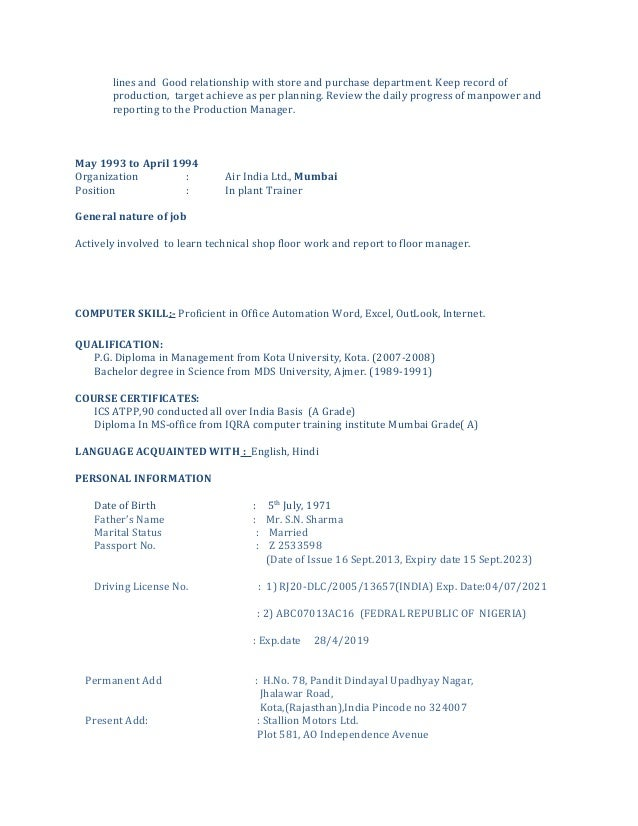 cv for spare parts manager
