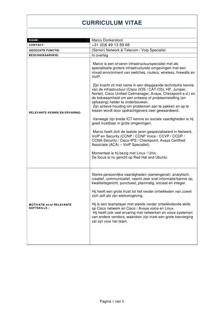 sociale vaardigheden cv CV   Marco Donkersloot   September 2011