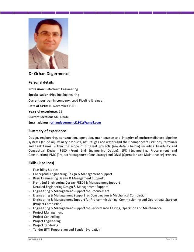 Cv Mr. Orhan Degermenci (lead Pipeline Engineer). March 30, 2016 Page