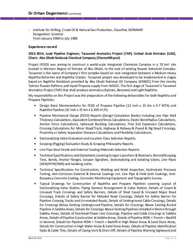 3 - Pipeline Engineer Sample Resume
