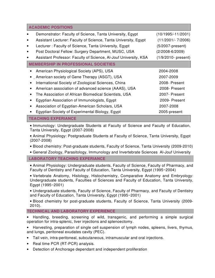 cv october 2011 sabry - Resume For Science Professor