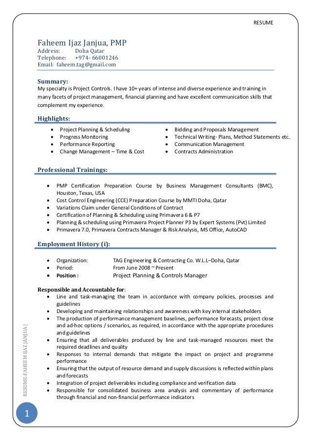 cv project control manager pmp resume 1 resume faheemijazjanjua faheem ijaz janjua pmp address doha qatar telephone - Resume Of Project Control Manager