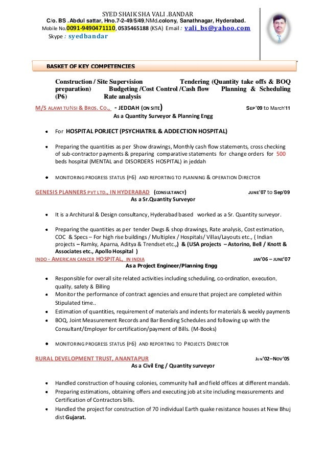 cv qs kafd - Quantity Surveyor Resume