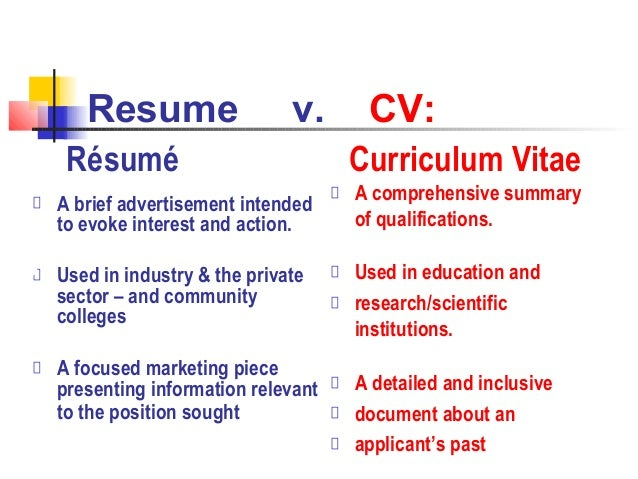 Resume V.  Resume Writing Workshop