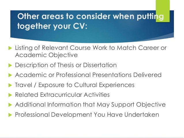 Putting your dissertation on your cv