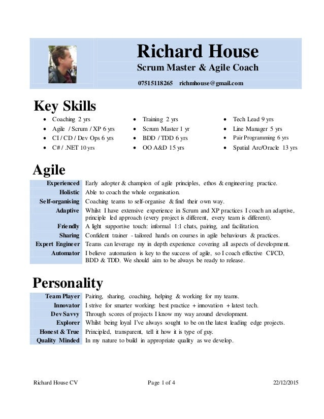 richard house cv page 1 of 4 22122015 richard house scrum master - Scrum Master Resume Sample
