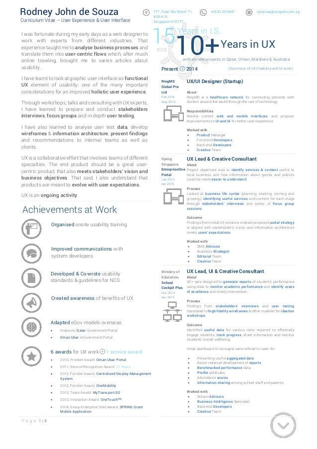 P a g e 1   4 Rodney John de Souza Curriculum Vitae – User Experience & User Interface 777, Pasir Ris Street 71. #05-416 S...