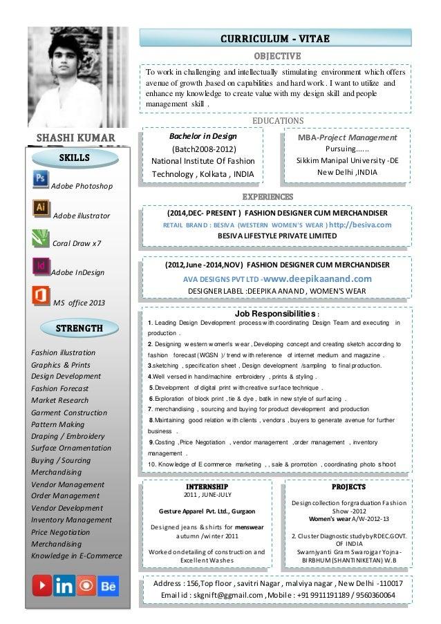 Resume format for merchandiser in garment