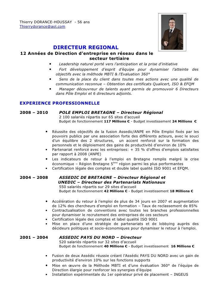 Thierry DORANCE-HOUSSAY - 56 ansThierrydorance@aol.com                   DIRECTEUR REGIONAL12 Années de Direction d'entrep...
