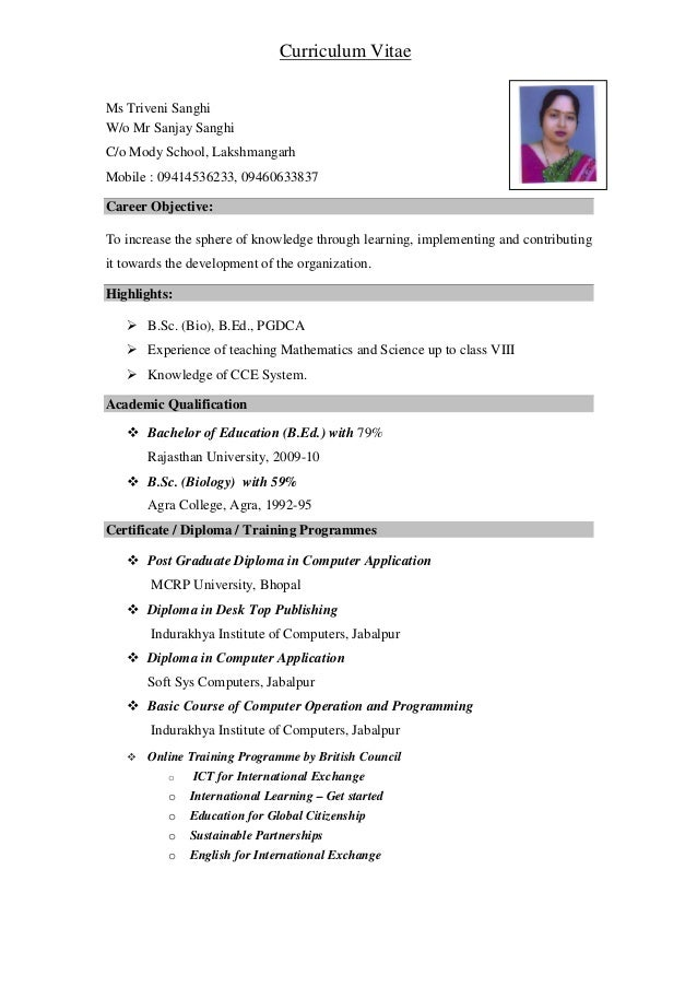 ms triveni sanghi wo mr sanjay sanghi co mody school - Resume For Science Teacher
