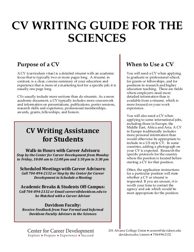 201 Alvarez College Union ♦ careers@davidson.edu davidson.edu/careers ♦ 704-894-2132 CV WRITING GUIDE FOR...