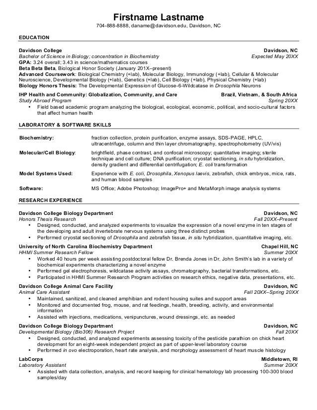 Davidson College CV Writing Guide