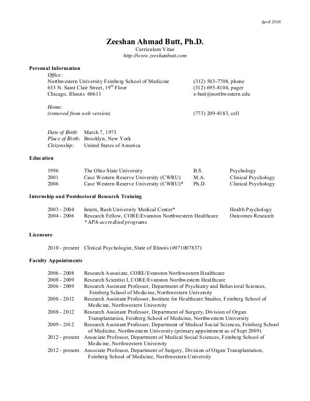 April 2018 Zeeshan Ahmad Butt, Ph.D. Curriculum Vitae http://www.zeeshanbutt.com Personal Information Office: Northwestern...
