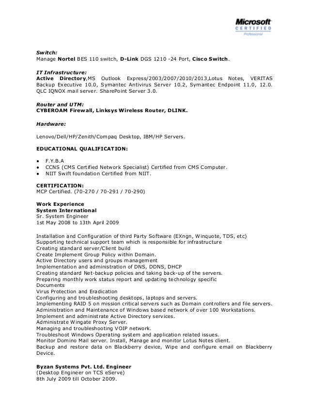 System Administrator Resume Sample | Sample Resume And Free Resume