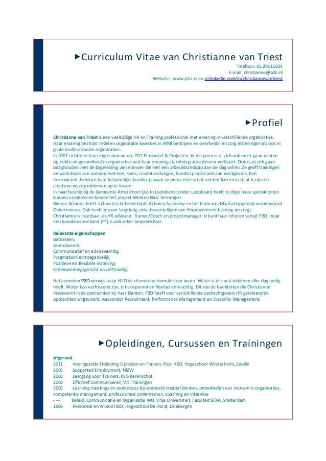 Curriculum Vitae van Christianne van Triest                                                                              ...