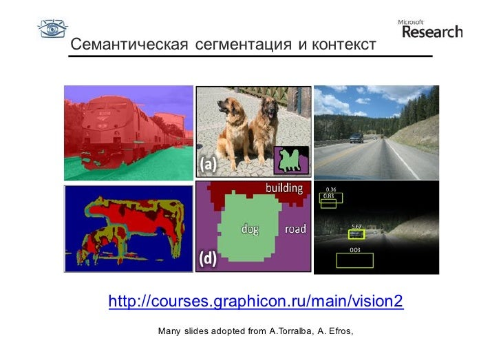 Семантическая сегментация и контекст    http://courses.graphicon.ru/main/vision2          Many slides adopted from A.Torra...