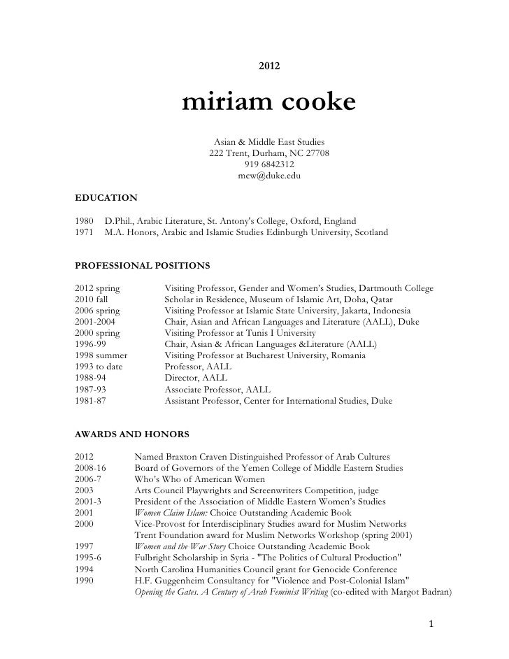 2012                            miriam cooke                                    Asian & Middle East Studies               ...