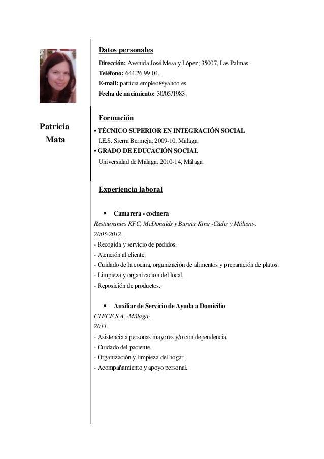 Patricia Mata Datos personales Dirección: Avenida José Mesa y López; 35007, Las Palmas. Teléfono: 644.26.99.04. E-mail: pa...