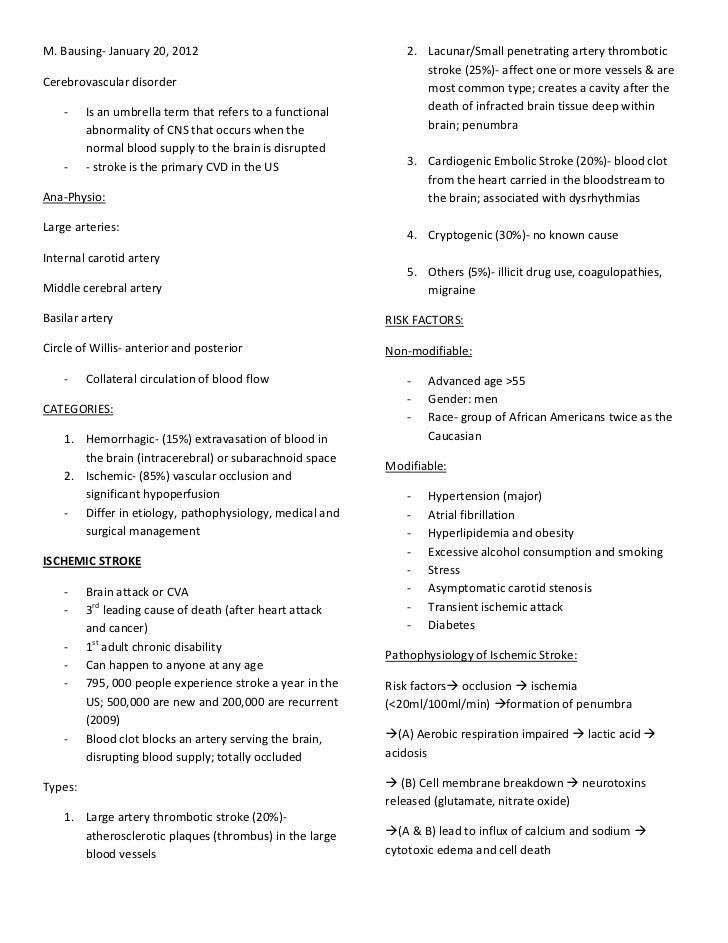 M. Bausing- January 20, 2012                                  2. Lacunar/Small penetrating artery thrombotic              ...