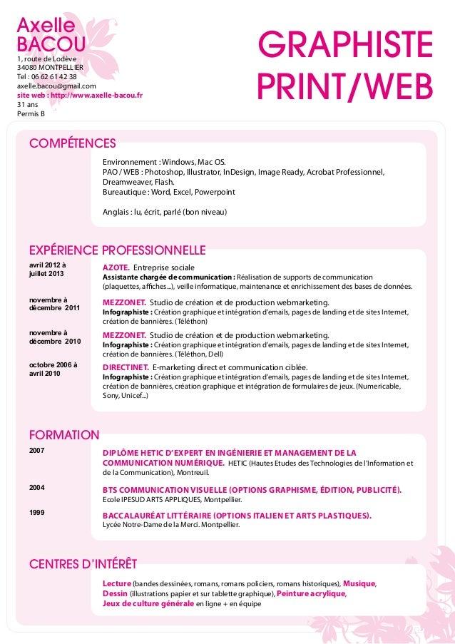 cv axelle bacou infographiste web  print