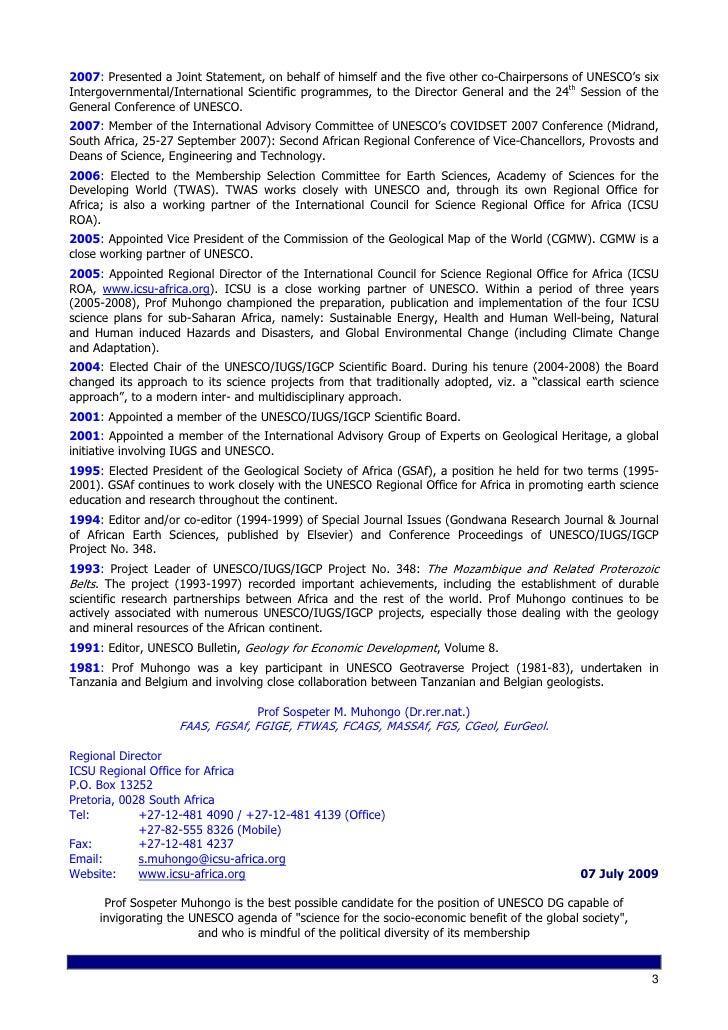 cv abridged 07 july 2009 prof sospeter m muhongo unesco dg candida u2026