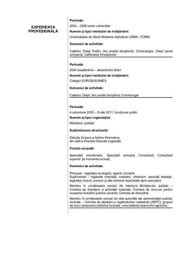 curriculum vitae pentru angajare model completat