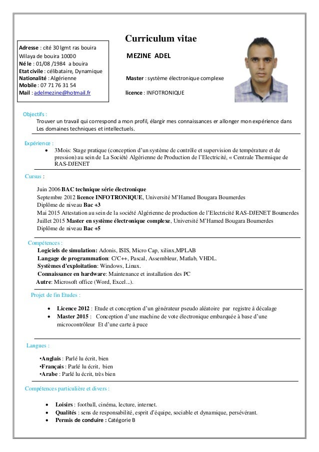 www.semantis.fr Curriculum vitae Adresse  cité 30 lgmt ras bouira Wilaya de
