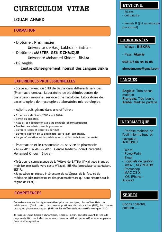 exemple cv pharmacien d officine Cv ahmed louafi exemple cv pharmacien d officine