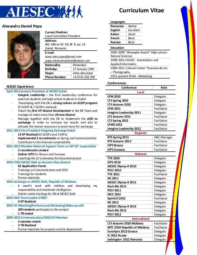 Curriculum Vitae                                                                        Languages:Alexandru Daniel Popa   ...