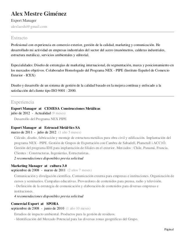 Alex Mestre GiménezExport Manageralexlaoshi@gmail.comExtractoProfesional con experiencia en comercio exterior, gestión de ...