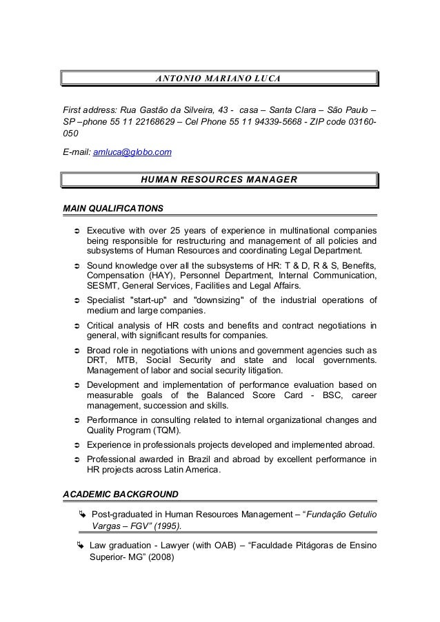 cv for hr  u0026 consulting manager