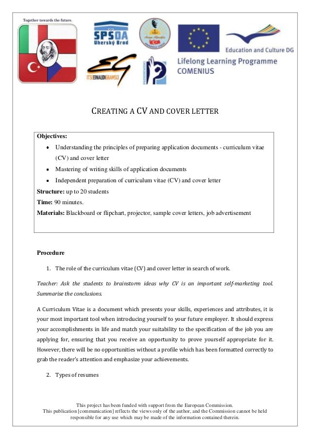 cv and appletter lesson script