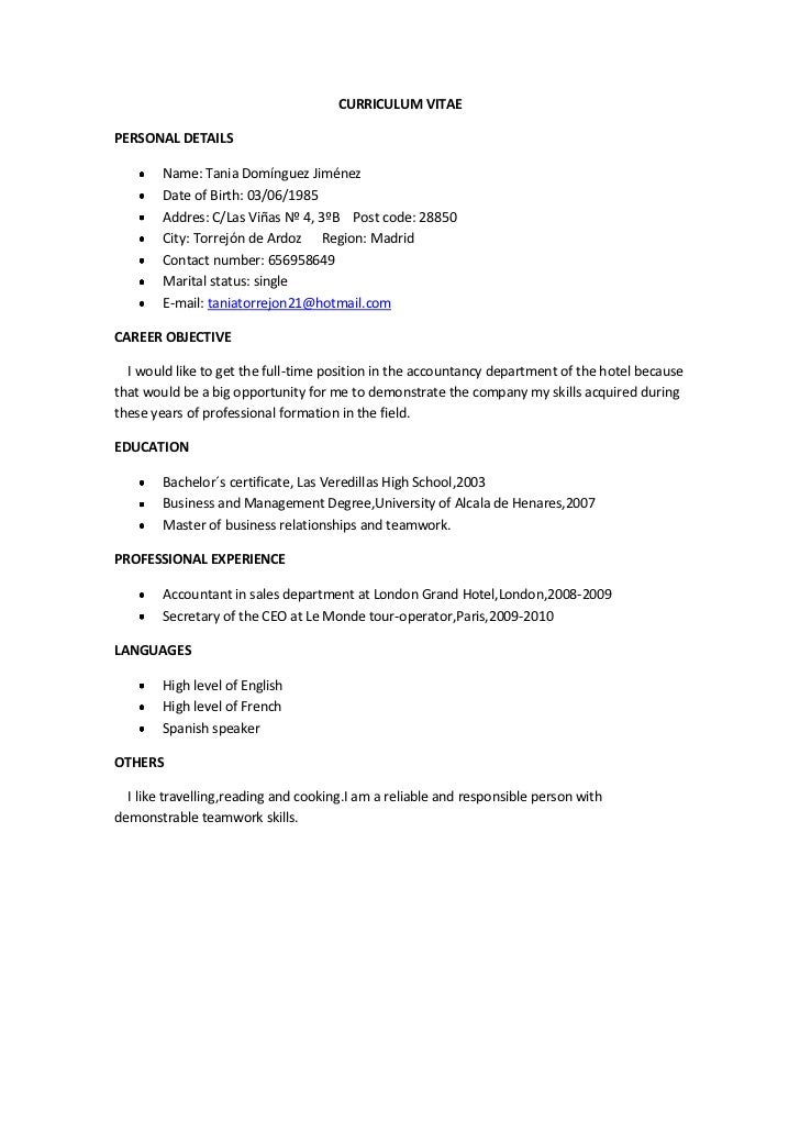Cv And Cover Letter. CURRICULUM VITAEPERSONAL DETAILS Name: Tania Domínguez  Jiménez Date Of Birth: 03/06/ ...