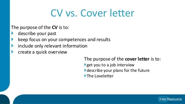 the purpose of a cover letter is to