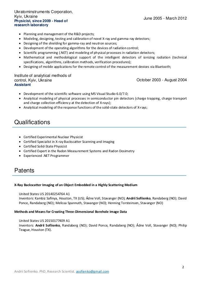 cv and list of publications andrii sofiienko